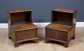 A pair of George III style mahogany step commodes with leather inset steps and drawer to the front