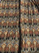 Two pairs of blue ground art nouveau flower patterned interlined curtains with triple pleated