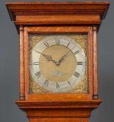 John Trevett of West Marden oak longcase clock having a square brass dial, silver chapter ring