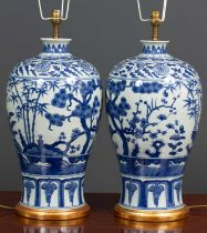 A pair of contemporary chinese style blue and white porcelain table lamps of inverted baluster