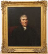 A 19th century head and shoulder male portrait, oil on canvas, 74.5cm x 62cm, mounted in a gilded