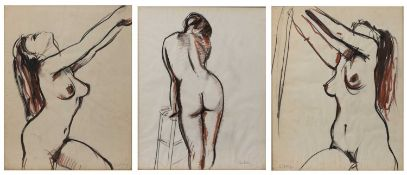 John Pelling (b.1930) a set of three nude studies, pen, ink and crayon, each signed, 50cm high x