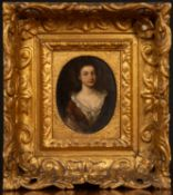 In the manner of Godfrey Kneller half length portrait of a young woman, oils on copper, unsigned,