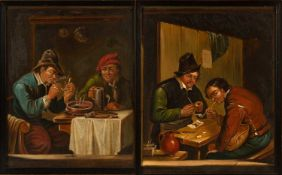 After David Teniers A pair of tavern scenes, oil on panel, each signed lower left, each 19cm x 15cm,