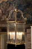 A Georgian style steel hexagonal hall lantern, 36cm wide x 80cm highCondition report: In good