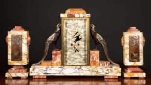 A French art deco garniture de Cheminee by Irene Rochard, the clock with stepped marble ornament,