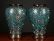 A pair of 19th century Oriental cloisonne enamelled bronze vases of baluster form, each 22cm wide