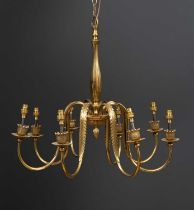 A gilt eight branch electrolier with acanthus leaf moulded scrolling arms, 62cm diameter x 58cm