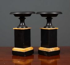 A pair of Victorian turned black slate and marble tazza of classical form on plinth bases, 14.5cm