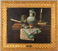 In the manner of William Michael Harnett (1848-1962) still life, oil on canvas, 49cm x 60cmCondition