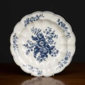 A Worcester porcelain lobed dish in the 'The Pine Cone Group' pattern, with crescent mark beneath,