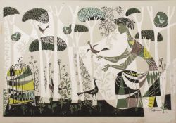 Rene Fumeron (French b.1921-d.2004), Lady with birds in a forest, screen printed cartoon,112.5cm x