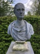 John Cheere, bust of Edward Harley, 2nd Earl of Oxford and Earl Mortimer, lead, mounted on a