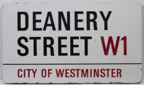 An Enamel London road sign for 'DEANERY STREET W1'76.5cm x 44cmCondition report: Marks due to