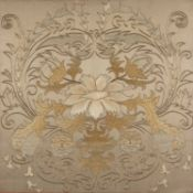A Chinese silkwork floral panel 57cm high x 57cm wide, in a silvered frame, 76.5cm wideCondition