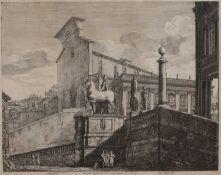 Luigi ROSSINI (1790 - 1857) 'Veduta di fianco del Campidoglio di Roma', engraving, 44.5cm high x