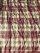 A pair of interlined tartan patterned curtains with triple pleated tops, the tops 130cm wide at