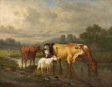 Victor Emile Cartier (b.1811-d.1866), Cattle watering in a stream joined by a goat, oil on canvas,