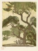 Rina Lazo (b.1923-d.2019), woodcut of trees, signed in pencil in the margin and numbered 28/70, 30cm