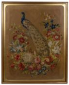 A Berlin woolwork picture of a peacock amongst flowering foliage, 108cm x 82cmCondition report: At
