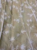 A pair of large silk bamboo lined curtains, each 580cm wide at the bottom x 252cm wide at the top