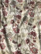 A pair of ivory ground red flower decorated curtains with triple pleated tops, each curtain 150cm