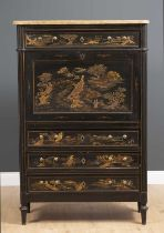 A 19th century continental secretaire a abattant with shaped alabaster top, Oriental style lacquered