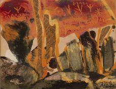 Beryl Maile, 'Cave at Eyers Rock', oil on paper with collage, signed lower right, bearing '