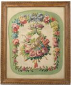 A painted allegorical floral study depicting the Triumph of Peace, gouache, 41cm wide x 46cm high