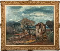 Anders Osterlind (b.1887-d.1960), Village View, oil on canvas laid on board, signed lower right,