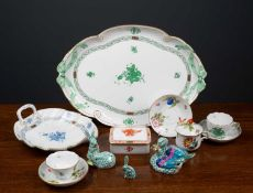 A mixed group of Herend porcelain consisting of an oval tray with green ribbon handles, 40cm wide, a