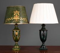 A green toleware table lamp and shade with lion mask ring handles, the lamp and shade 68cm high