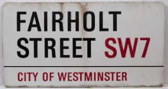 An enamel London road sign for 'FAIRHOLT ST SW7', 84cm x 44cmQty: 1Condition report: Minor marks due