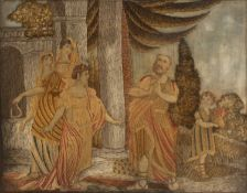 A Regency silkwork picture depicting classical figure by a temple, 45.5cm x 58.5cmCondition