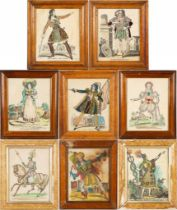 A group of eight decorative hand painted and collage prints of actors in painted frames, each