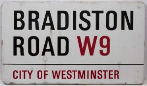 An enamel London road sign for 'BRADISTON ROAD W9'76.5cm x 44cmCondition report: Minor marks due