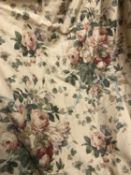 Two pairs of dark ivory ground rose and tulip decorated interlined curtains the first pair measuring