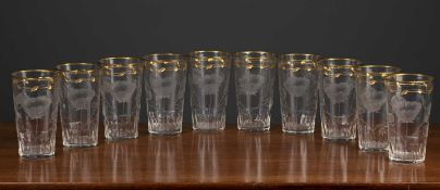 A set of ten cut glass and parcel gilt lemonade or water glasses with rose decoration, each 7.8cm