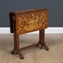 A Dutch mahogany Sutherland table profusely decorated with floral inlay stamped KOOPMAN and Co 1903,