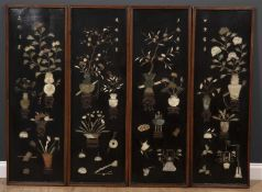 A set of four decorative Chinese black lacquered panels with hardstone inlay, in the form of vases