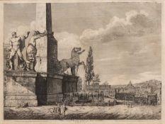 LUIGI ROSSINI (1790-1857) 'Veduta Generale Dei Gran Colossi sul Monte Quirinale', 36cm x