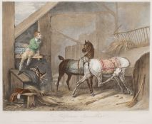 A pair of hand coloured lithographs after Carle Vernet, originally engraved by Jazet, 'Le Palfrenier
