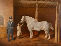 19th century English school A gentleman, a groom and his horse in a stable, oil on canvas, unsigned,