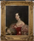 A 19th century head and shoulder female portrait oil on canvas, 91cm x 70cm, mounted in a gilded