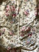 A pair ornament curtains or portiere the curtains joined at the top and sewed to the pelmet, the