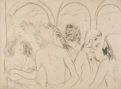 Borsos (mid 20th century Italian school), 'The Party', signed in pencil in the margin, the etching