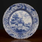 An early 19th century blue and white plate from the Durham Ox series, unmarked, circa 1830, 25.5cm