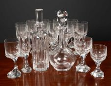A collection of Baccarat glassware consisting of eleven wine glasses with off centre faceted