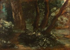 Circle of John Constable (1776-1837) oil on oak panel - The Dell, 28.5cm x 39.5cm, a 19th century