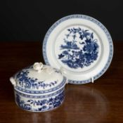 A Worcester fence pattern butter dish, cover and stand, the stand 15.5cm diameter and with